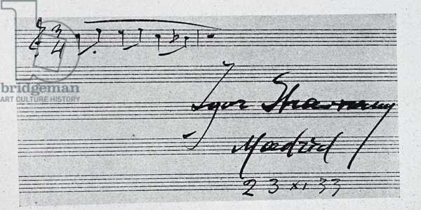 Sheet music by Igor Stravinsky