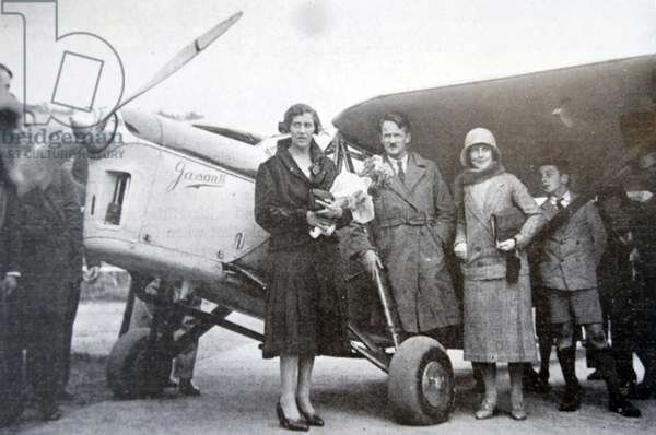 Miss Amy Johnson on her arrival at Croydon Aerodrome after flying in hops from Japan.