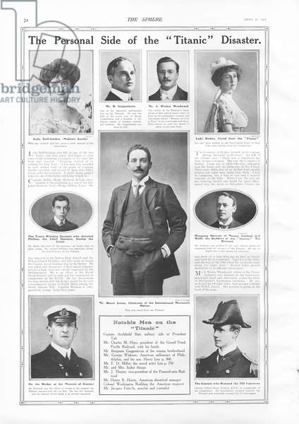 Passengers on RMS Titanic, photographs and information about notable people connected with Titanic, from 'The Sphere', 27 April 1912 (litho)