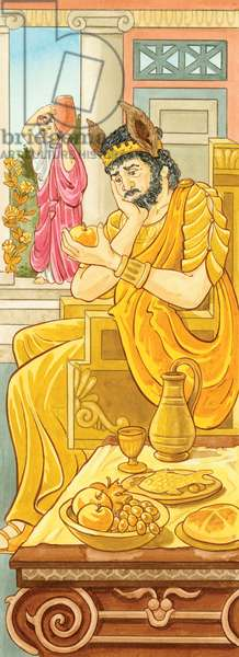 Le roi Midas, dont la capacite a transformer tout ce qu'il touche en or , le coupe totalement de la vie normale, le rendant fou de cupidite - In mythology, King Midas was known for his foolishness and greed, once wishing for everything he touched to turn to gold ©Encyclopaedia Britannica/UIG/Leemage