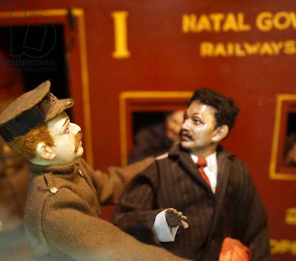 Model depicting Mohandas Karamchand Gandhi ejected from a first class railway train, South Africa