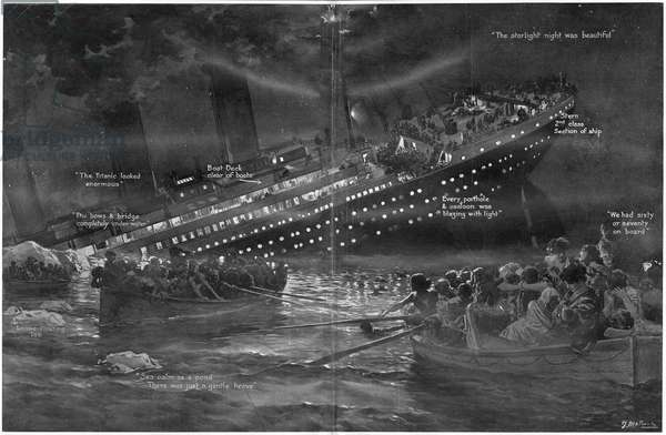 Titanic Sinking.  Diagrammatic illustration of the Titanic sinking, lights blazing in the night. 'How the Titanic Gradually Sank Bow First With Her Lights Blazing to the Last'.  Titanic was built by Harland & Wolff in Belfast Ireland during 1910 - 1911 and later sank on April 15th, 1912 after striking an iceberg off the coast of New Foundland during her maiden voyage from Southampton, England to New York, USA, with the loss of 1,522 passengers and crew. (Photo by Titanic Images/Universal Images Group) ©UIG/Leemage