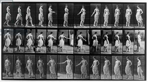 Thirty-six consecutive images of partially nude woman walking and turning