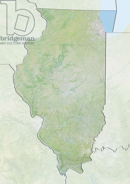 State of Illinois, United States, Relief Map
