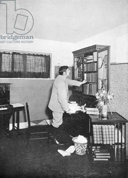 Herbert George Wells (1865-1946) British novelist, writer and popular historian. HG Wells in his study at Spade House, Sandgate, Kent, c1902.