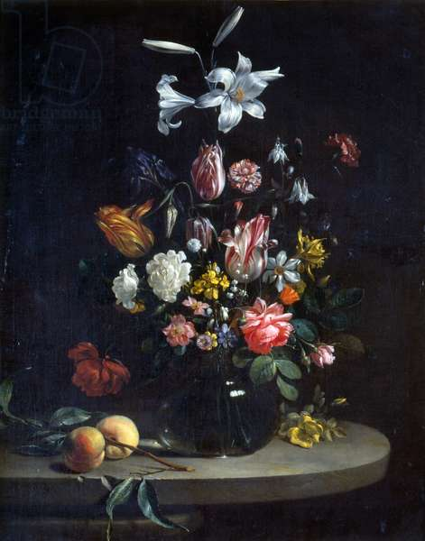 Still life: Bouquet of flowers, in a glass vase