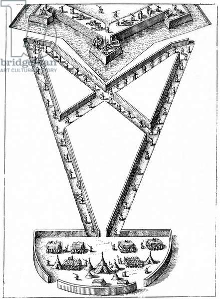 Design for encampment outside a besieged fortress. Engraving from Robert Fludd Utriusque cosmi ... historia Oppenheim 1617-1619