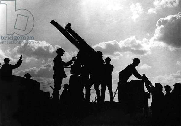 Silhouetted Artillery (b/w photo)
