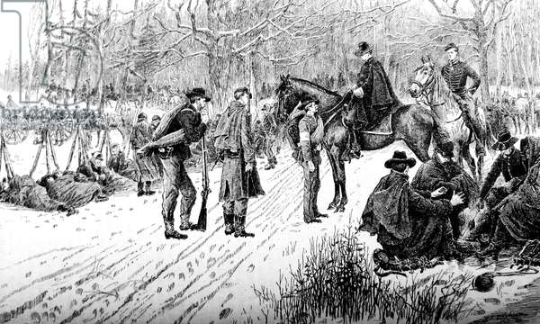 American Civil war-1861 1865 The bivouac in the snow on the line battle, questioning a confederate prisoner, print 1870