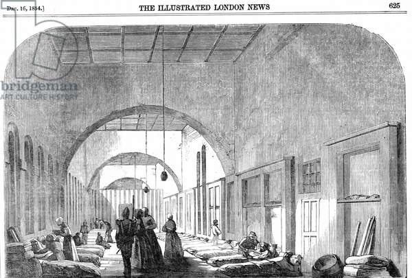 The barrack hospital at Scutari during the Crimean War (1853-56) under Florence Nightingale's (1820-1910) management. From The Illustrated London News, 1854. Wood engraving