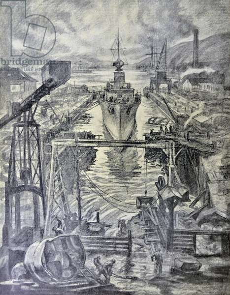Spanish Civil War: '... At the outbreak of the Spanish Civil War (1936–1939) the shipbuilding yards, workshops, foundries and dry docks in Ferrol, Gallicia, were taken over by the state and nationalized. drawing C. Saenz de Tejada
