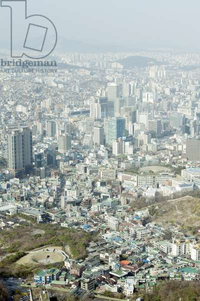 South Korea, Seoul, Namsan, N Seoul Tower (Namsan Tower), view north from tower