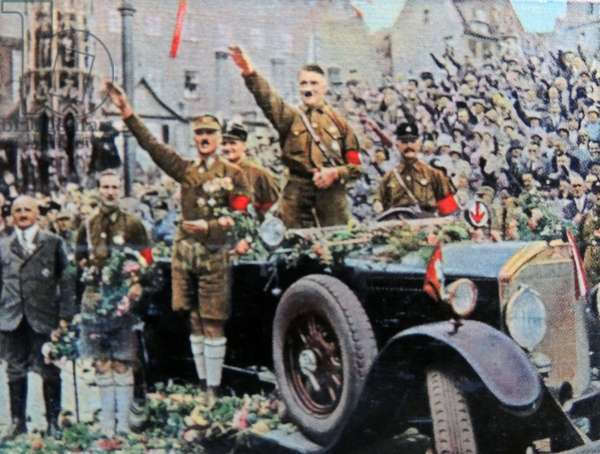 Hitler attending Nazi rally in Nuremberg