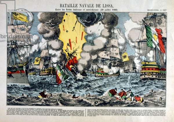 The Battle of Lissa (sometimes called Battle of Vis) 20 July 1866, in the Adriatic Sea near the Dalmatian island of Lissa (