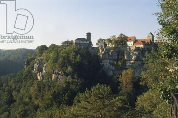 Germany, Saxony, Sachsis Schweiz, Burg Hohnstein, a castle built high on the rocks, now one of Germany's largest youth hostels.