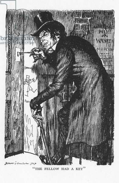 Robert Louis Stevenson The Strange Case of Dr Jekyll and Mr Hyde first published 1886. Mr Hyde letting himself in after his night's adventures to take the antidote and to resume the character of Dr Jekyll. Illustration by Edmund J Sullivan from an edition published 1928.