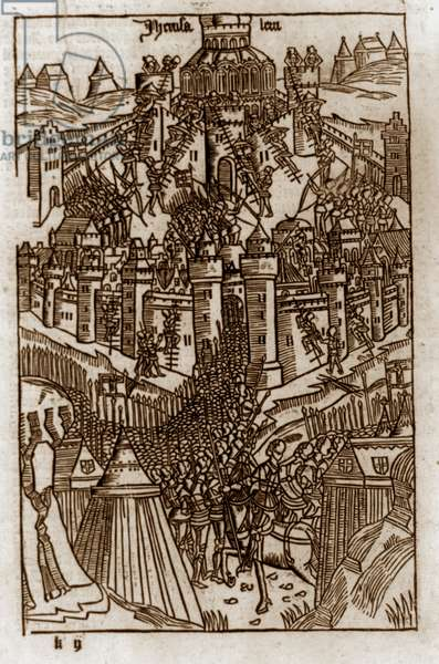 Siege of Jerusalem by Crusaders, 1099 Published ca. 1486. woodcut.