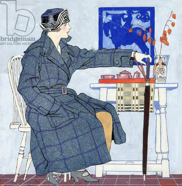 A young woman sitting beside a table holding an umbrella, 1917 (watercolour print )
