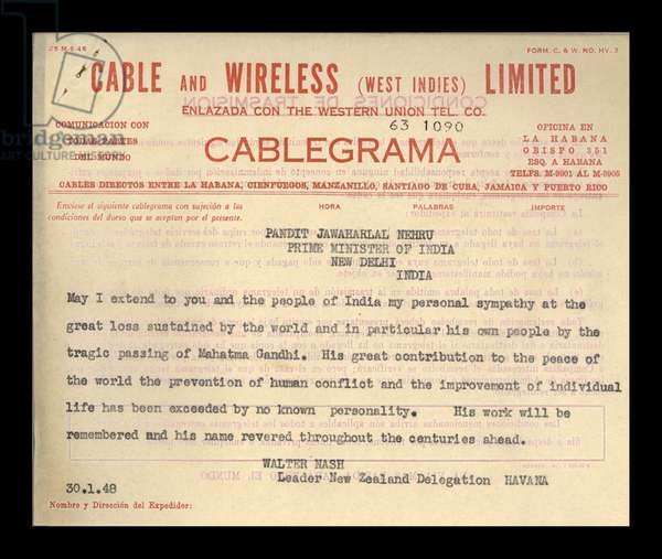 Cable from New Zealand Prime Minister to Prime Minister of India on death of Mahatma Gandhi