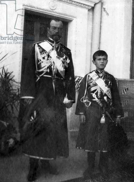 Tsar Nicholas II of Russia with Alexei Nikolaevich, 1913