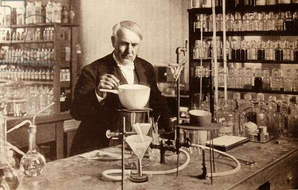 Thomas Edison in his laboratory.