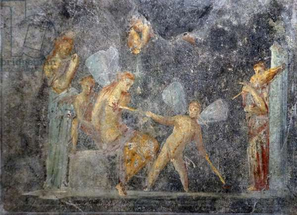 Roman fresco showing Psyche with three cupids, 1754