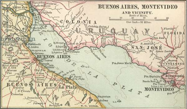 Map of Buenos Aires and Montevideo