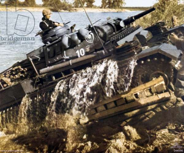 German World War Two Panzer Mark iii tank, crossing a river on the Eastern Front