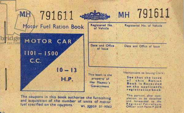 Motor fuel ration book from the Second World War