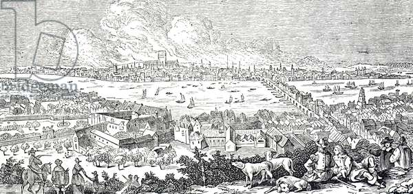 Engraving depicting a view of London during the Great Fire of 1666, 17th century