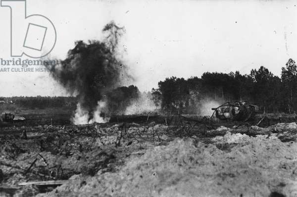 American tanks in action, 1918 (b/w photo)