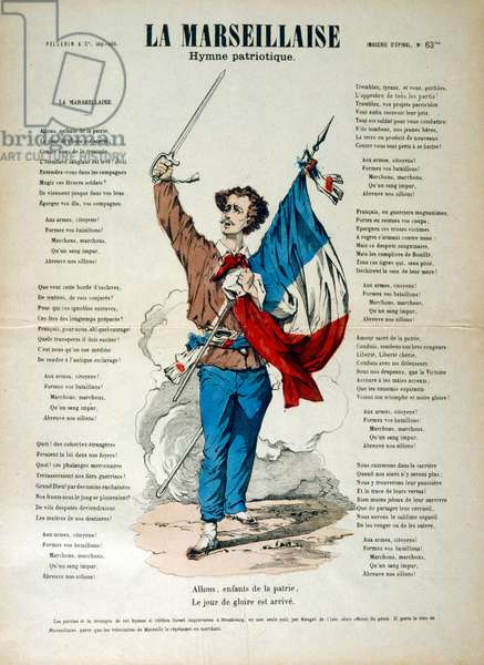 "French revolutionary illustration and words for 'La Marseillaise' 1795. Lyrics by Claude Joseph Rouget de Lisle, 1792 with Music by Claude Joseph Rouget de Lisle. ""La Marseillaise"" is the national anthem of France. The song was written in 1792 by Claude Joseph Rouget de Lisle in Strasbourg after the declaration of war by France against Austria, and was originally titled ""Chant de guerre pour l'Armée du Rhin"" (""War Song for the Rhine Army""). The Marseillaise was a revolutionary song, an anthem to freedom, a patriotic call to mobilize all the citizens and an exhortation to fight against tyranny and foreign invasion. The French National Convention adopted it as the Republic's anthem in 1795. It acquired its nickname after being sung in Paris by volunteers from Marseille marching to the capital."