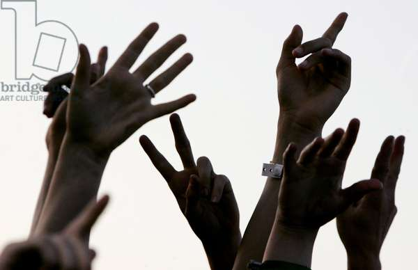 Hands in the air, crowd at, Nokia Isle of Wight Festival, Sealclose Park, Newport, UK June 2006.