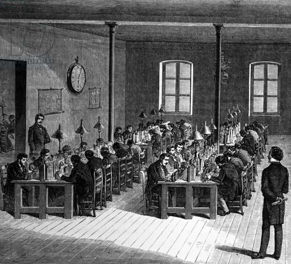 Central telegraph office Paris, 1870