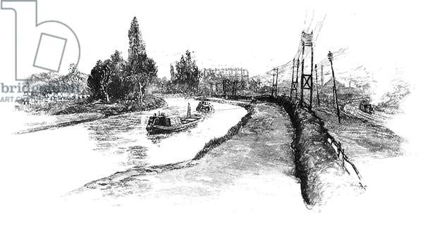 Regent's Canal, London: Horse-drawn barge passing through Kensal Green. Engraving, London, 1885.