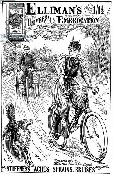 Cycling: Lady wearing 'Rational' cycling dress, riding a 'safety' bicycle with handbrake. Advertisement for Elliman's Embrocation London 1895.