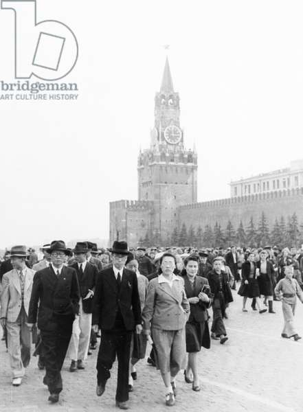 A Delegation of Representatives of Cultural and Public Organizations of North Korea, Headed by Writer Li Gi En, President of the Korean Society for Cultural Relations with the USSR, in Red Square in Moscow, September 1946.