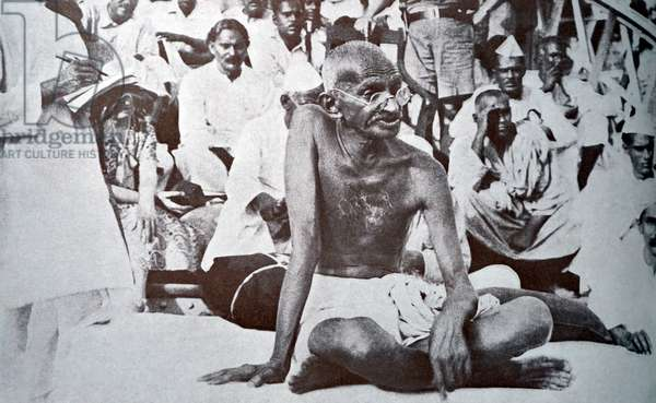Mohandas Gandhi, the preeminent leader of the Indian independence movement.