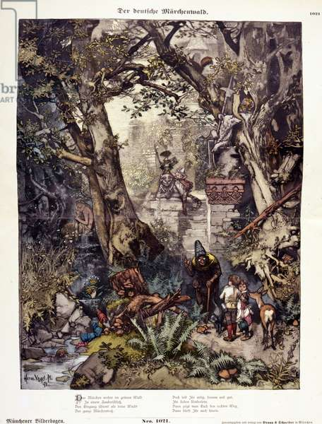 Illustration depicting characters from German Fairy Tales in a forest.
