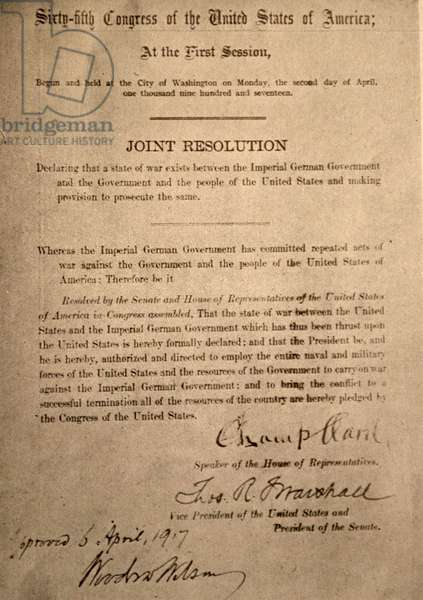 The joint resolution of the U.S. House and Senate declaring the State of War