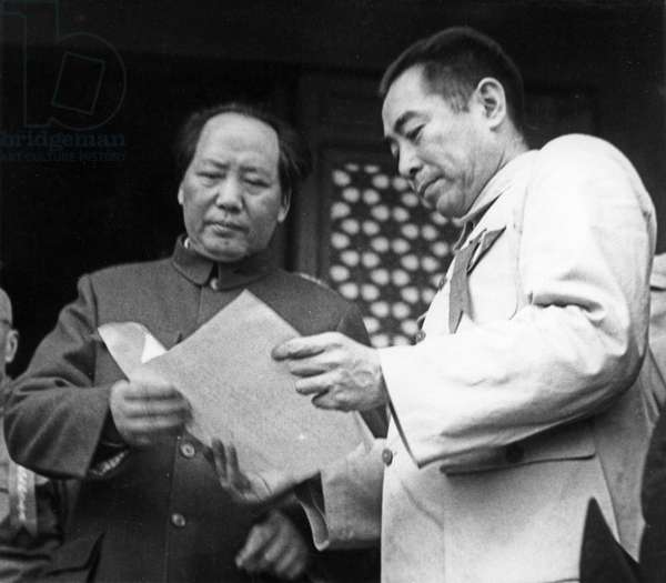 Mao Zedong and Zhou Enlai attending the founding ceremony of the People's Republic of China on the Tienanmen Rostrum on October 1, 1949