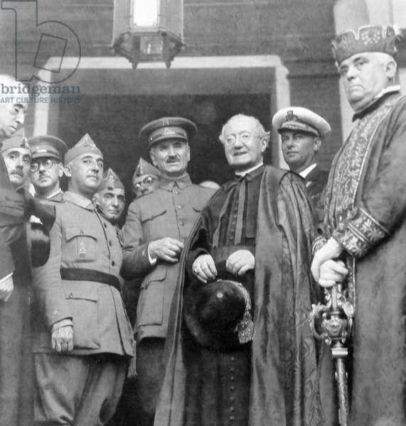 Spanish Civil War: Generals Franco and Queipo de Llano with the Bishop of Salamanca 1937