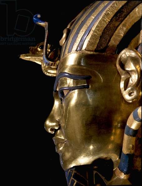 The mask of Tutankhamun, 18th dynasty c.1357-1349 BC (gold, glass, semi-precious stones)