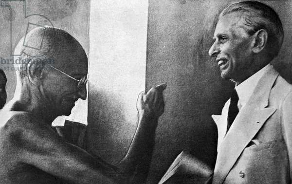 Mohandas Karamchand Gandhi and Mohammed Ali Jinnah, during their talks in Mumbai, 1944