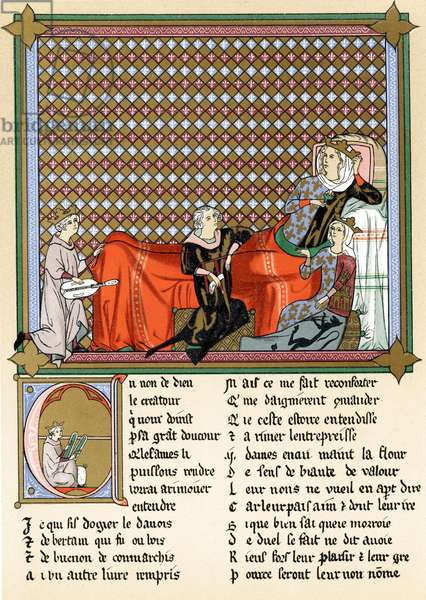 Adenet le Roi (c1240-c1300) 'King of the Minstrels' French poet and musician, reciting Roman de Cleomades to Blanche of Castile (1188-1252) wife of Louis VIII of France, mother of Louis IX, granddaughter of Eleanor of Aquitaine and Mathilde de Brabant,