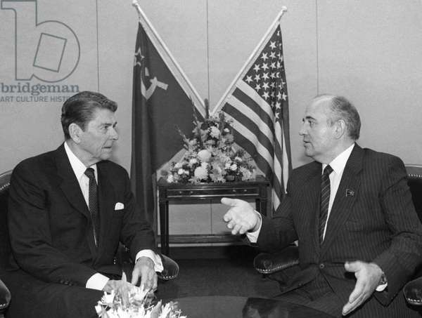 Mikhail Gorbachev And Ronald Reagan At A Summit Of The Soviet Union And The USA