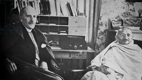 Mahatma Gandhi visits Romain Roland in Switzerland, 1931