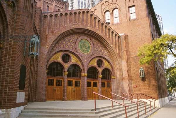 Illinois, Chicago. Moody Bible Church Main Entrance.