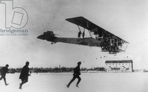 Igor Sikorsky Demonstrating his Four-Engined Biplane, 'Ilya Muromets', in 1914.