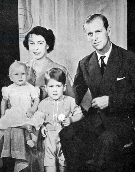 Queen Elizabeth II and Prince Philip, Duke of Edinburgh with two of their children